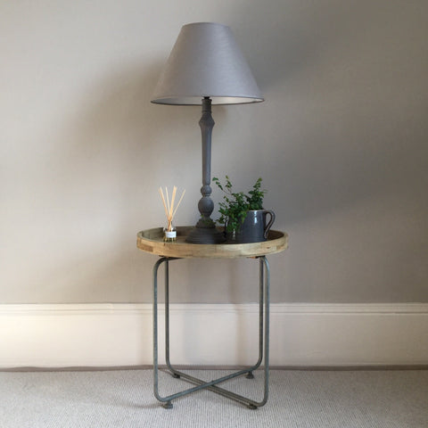 Wood Table with Grey Metal Legs