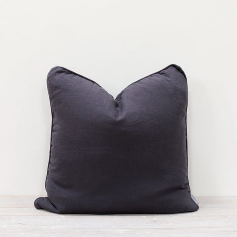 Piped Linen Button Back Cushion in Slate Grey