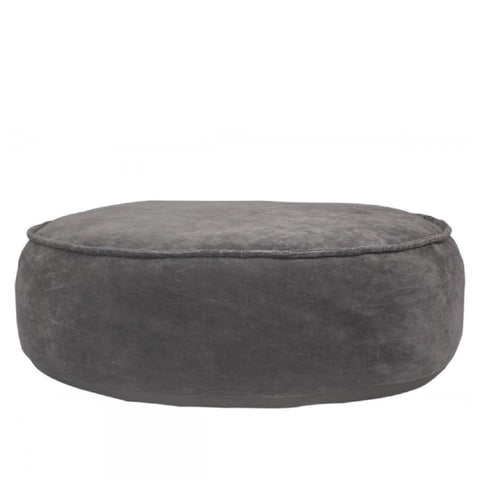 Velvet Pouffe in Grey