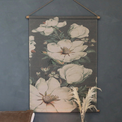 White Flower Canvas Wallhanging - Small