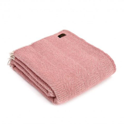 Pure New Wool Throw in Dusky Pink Herringbone