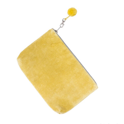 Velvet Clutch Bag in Yellow