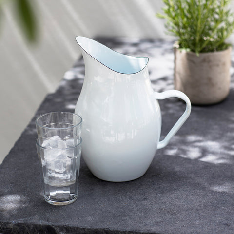 White Enamel Pitcher Jug