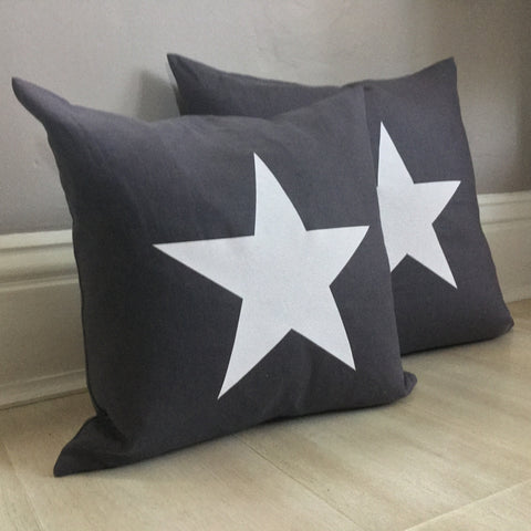Charcoal Grey Star Cushion
