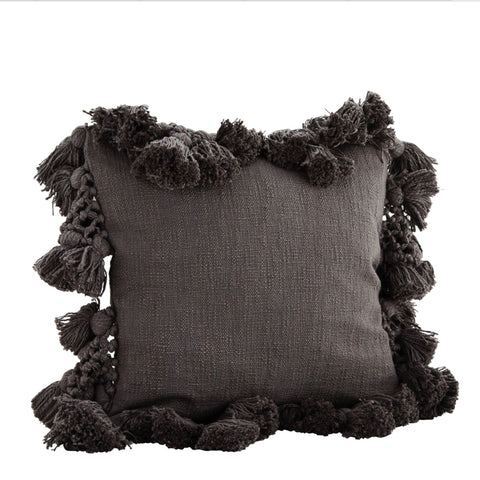 Charcoal Textured Tassel Cushion