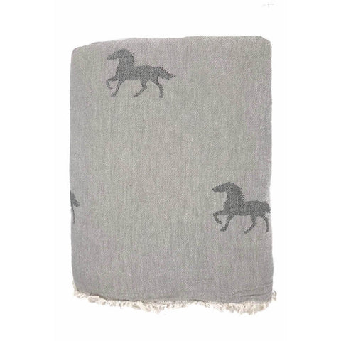 Grey Horse Throw with Fleece Lining