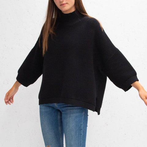 Ribbed Slouchy Cotton Jumper - Black