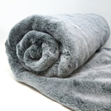 Soft Faux Fur Throw in Seal Grey