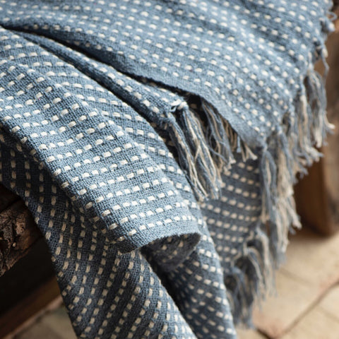 Dusty Blue Cotton Throw