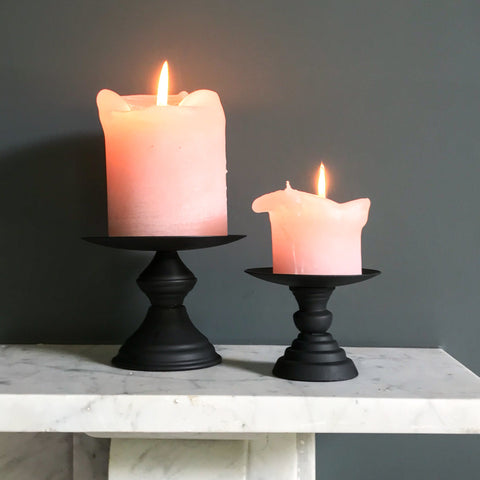 Matt Black Pillar Candle Holder Small