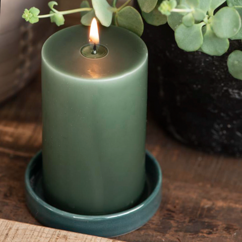 Small Ceramic Candle Tray in Teal