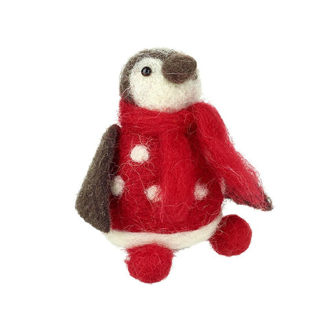 Sitting Red Felt Penguin Decoration