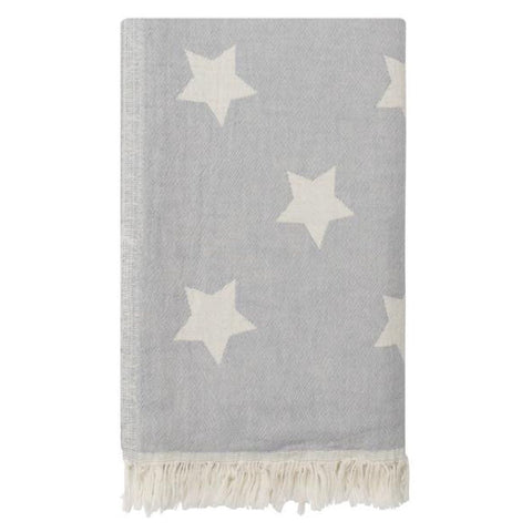 Cotton Star Throw in Pale Grey