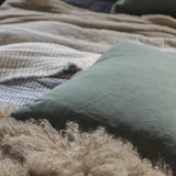 Forest Green Linen Square Cushion