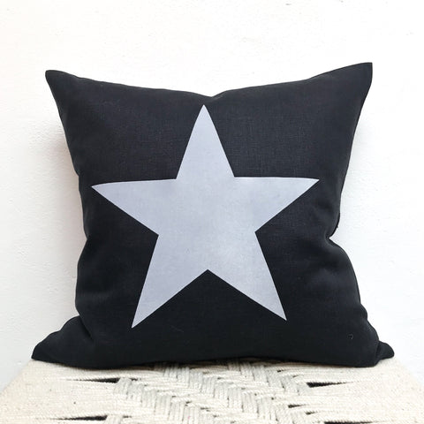 Black Linen Cushion with Grey Star 40cm
