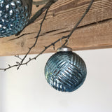 Winter Blue Glass Bauble Small