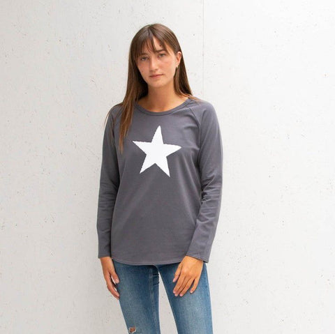 Long Sleeve Charcoal T-Shirt With White Star