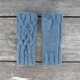 Handknitted Cable Wristwarmers in Slate Blue