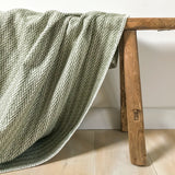 Organic Cotton Throw in Olive Herringbone