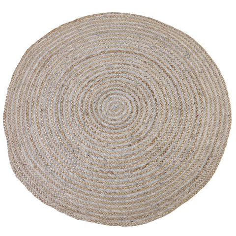 Round Jute Rug in Natural and Grey