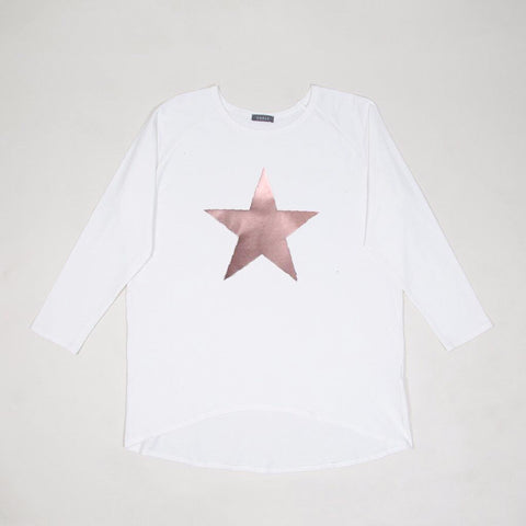 Star Top in White With Rose Gold Star