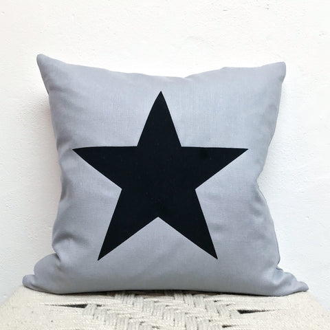 Grey Linen Cushion with Black Star 40cm