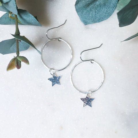 Hoop Earrings with Small Star Charm
