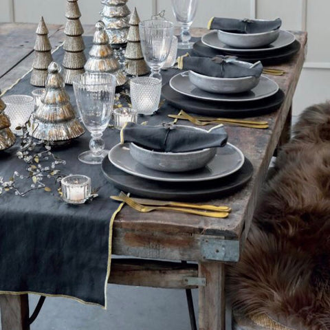 Golden Edge Table Runner in Charcoal