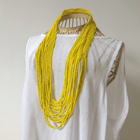 Beaded Cascade Necklace - Yellow