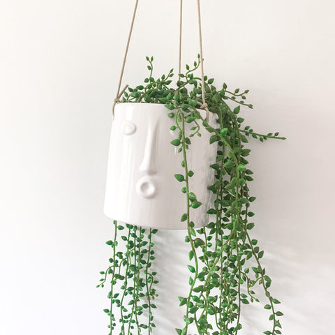 White Hanging Pot with Face