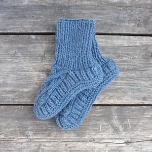Handknitted Cable Slipper Socks in Slate Blue 3-5