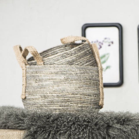 Medium Light Grey Rustic Basket