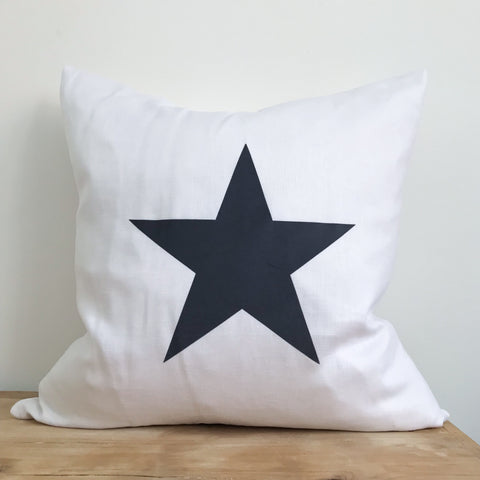 White Linen & Dark Grey Star Cushion - 50cm
