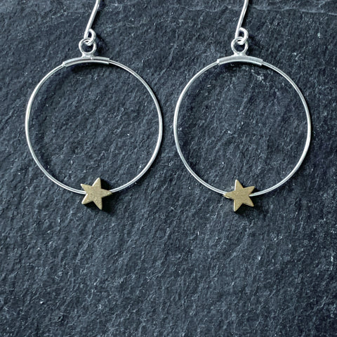 Hoop Earrings with Brass Star