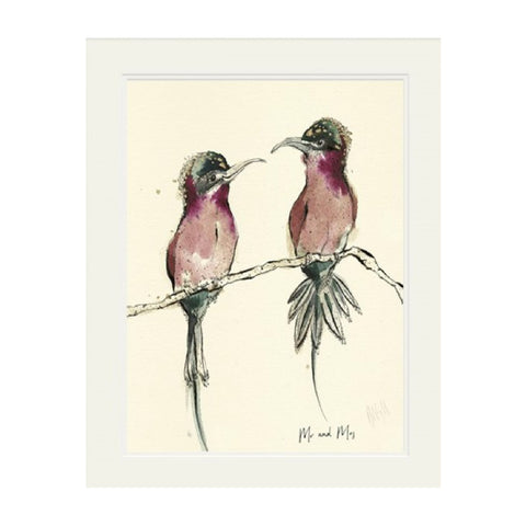 'Mr and Mrs' Mounted Print by Anna Wright