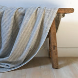 Organic Cotton Throw in Grey Herringbone