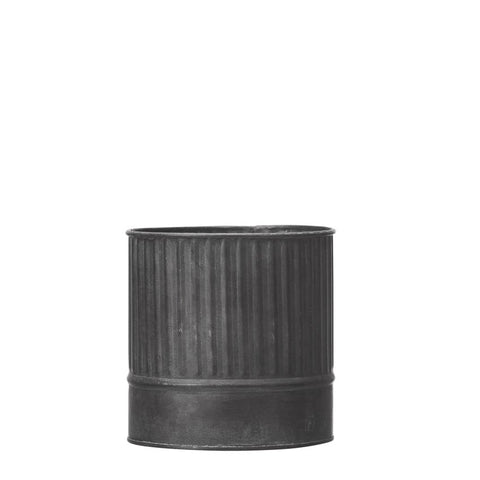Vertical Ribbed Zinc Planter Medium