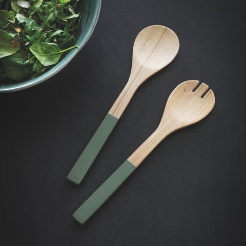 Bamboo Salad Servers in Sage