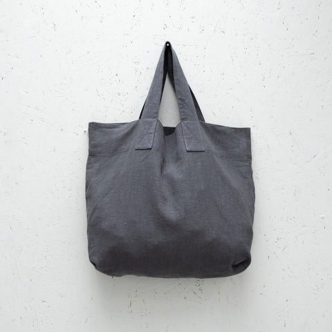 Natural Fibre Shopper in Charcoal