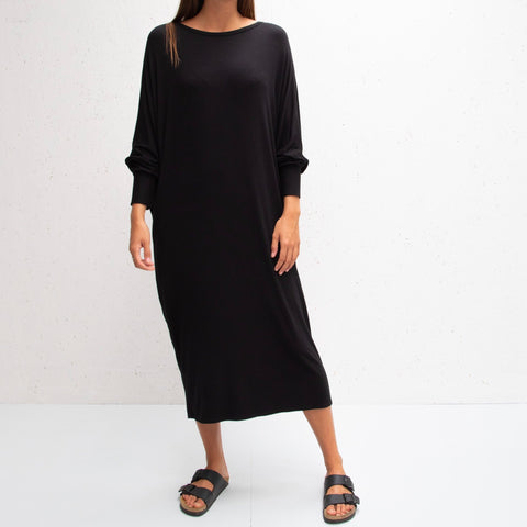 Drape Jersey Dress in Black