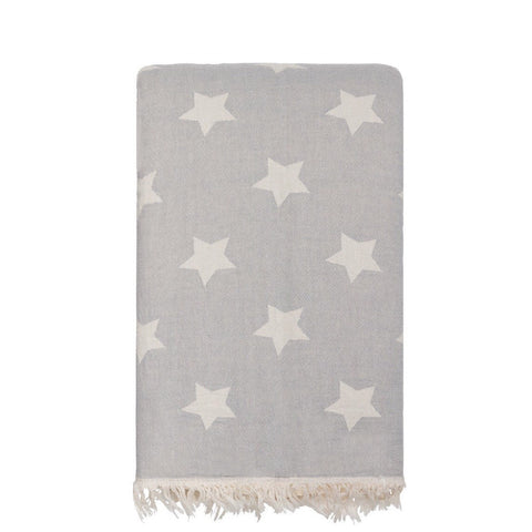 Star Throw with Fleece Lining in Pale Grey