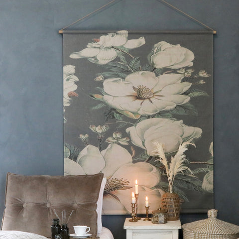 White Flower Canvas Wallhanging - Large