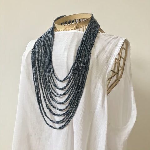 Beaded Cascade Necklace - Navy