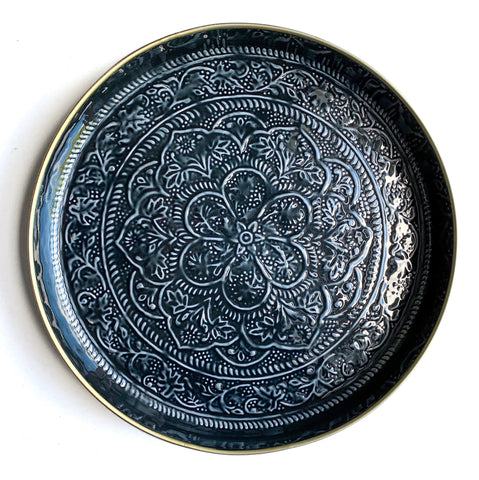 Large Black Embossed Round Tray