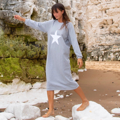 Lounge Dress Grey With White Star
