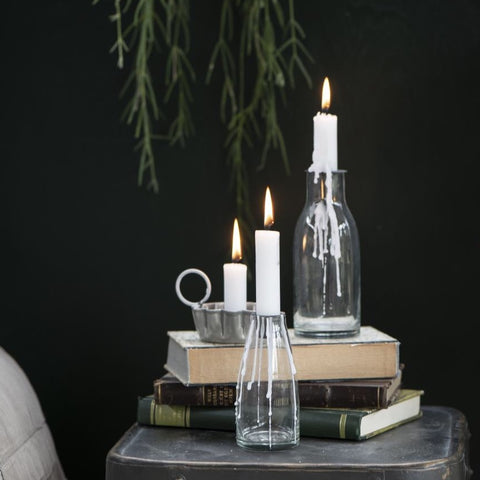 Glass Bottle Candleholder Small