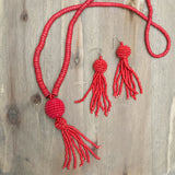 Coco Tassel Necklace - Red