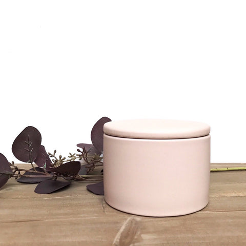 Porcelain Storage Pot in Pale Blush Pink