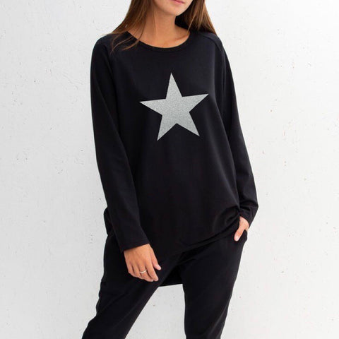 Star Top in Black With Silver Star