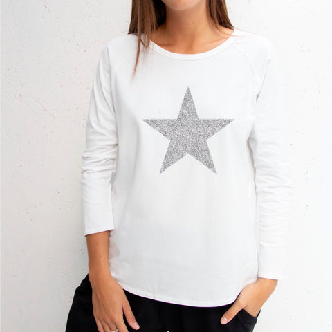 Long Sleeve White T-Shirt With Sparkle Star